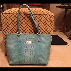 Brahmin Turquoise Glossy Croc Leather bag